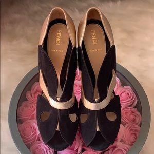 FENDI Black Suede and Gold Leather Platform Shoes